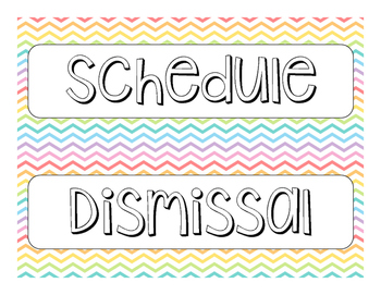 Rainbow Chevron Schedule Cards