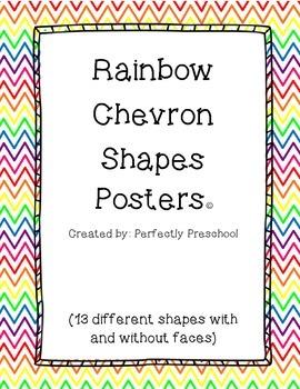 Rainbow Chevron Shape Posters