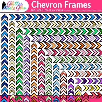 Chevron Border Clip Art {Rainbow Glitter Frames for Worksheets, Resources}