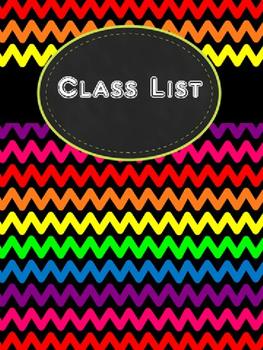 Rainbow Chevron Teacher Binder Pages