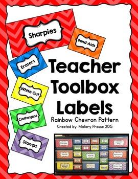 EDITABLE Rainbow Chevron Teacher Toolbox Labels