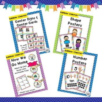Chevron Classroom Decor Bundle -  Word Wall, Jobs, Schedule Cards, & More!