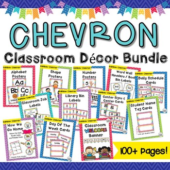 Classroom Decor Bundle - Rainbow Chevron- Word Wall, Poste