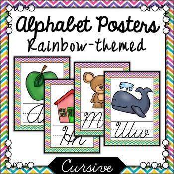Rainbow Chevron Cursive Alphabet Posters