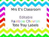 Rainbow Chevron Tote Tray Labels
