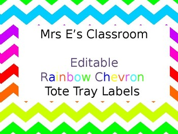 Rainbow Chevron Tote Tray Labels