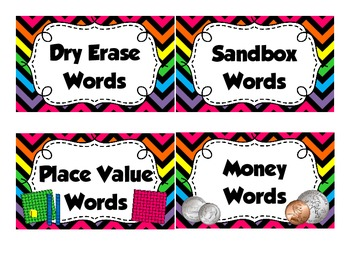 Rainbow Chevron WORD WORK Labels