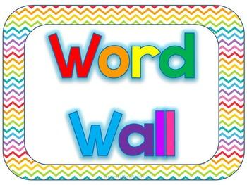Rainbow Chevron Word Wall
