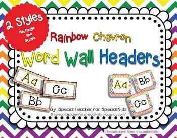 Rainbow Chevron Word Wall Headers {2 styles}