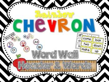 Rainbow Chevron Word Wall Headers & 220 Word Wall Words {E