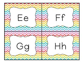 Rainbow Chevron Word Wall Label Cards