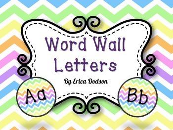 Rainbow Chevron Alphabet Word Wall Letters