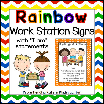 Rainbow Chevron Work Station Signs