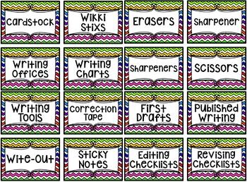 Rainbow Chevron Writing Center Labels!