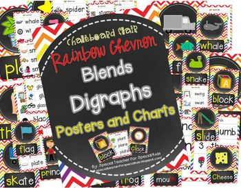 Rainbow Chevron and Chalkboard **Blend & Digraph Posters and Charts**