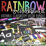 Rainbow & Chalkboard Complete Classroom Decor Set (EDITABLE)
