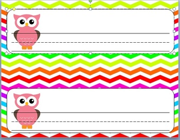 Rainbow Chevron and Owl Name Plate