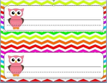 Rainbow Chevron and Owl Name Plate
