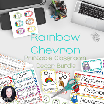 Rainbow Chevron and Owls Classroom Decor