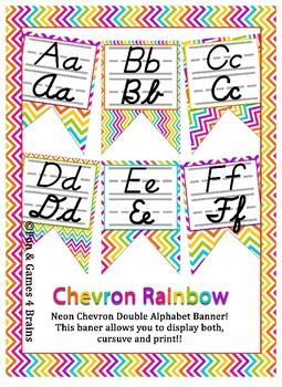 Rainbow Chevron themed print and cursive Alphabet banner