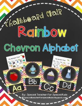 Rainbow Chevron with Chalkboard Flair  Alphabet Posters