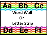 Rainbow Chevron word wall or letter strip
