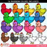 Rainbow Chickens Clip Art