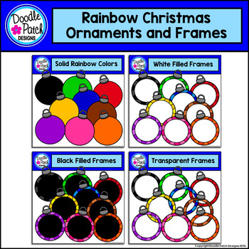 Rainbow Christmas Ornaments and Frames Clip Art Set - Doodle Patch Designs