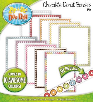 {FREE} Rainbow Chocolate Donuts Borders — 10 Colorful Graphics!