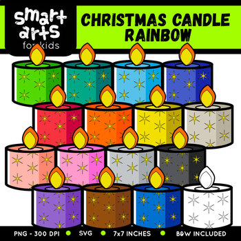 Rainbow Christmas Candle Clip Art