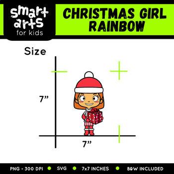 Rainbow Christmas Girl Clip Art