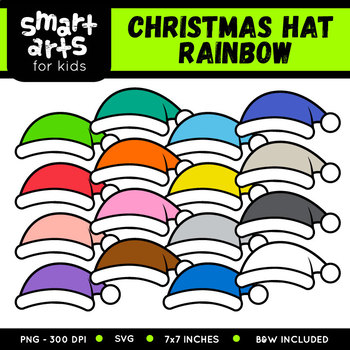 Rainbow Christmas Hat Clip Art