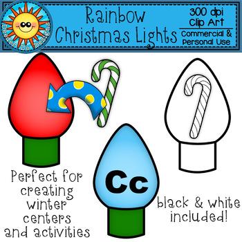 Rainbow Christmas Lights Clip Art