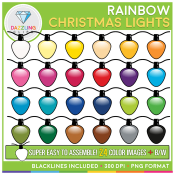 Rainbow Christmas Lights Clip Art