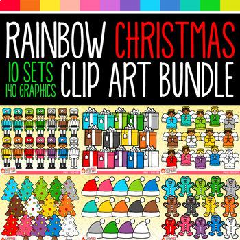 Rainbow Christmas Objects Clip Art Bundle