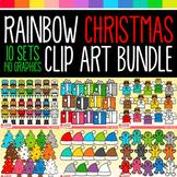 Rainbow Christmas Clip Art Bundle