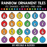 Rainbow Christmas Ornament Letter and Number Tiles Clipart