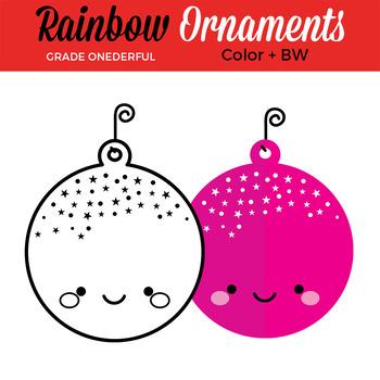 Rainbow Christmas Ornaments Clip Art