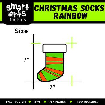 Rainbow Christmas Socks Clip Art