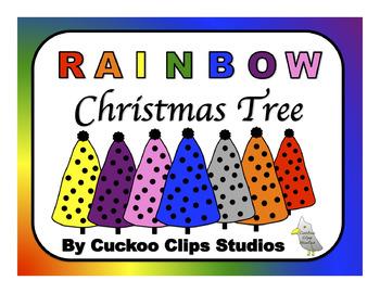 Rainbow Christmas Tree Clip Art