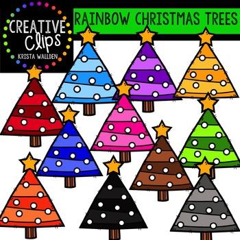 Rainbow Christmas Trees - Christmas Clipart {Creative Clips Clipart}