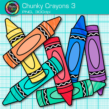 Rainbow Chunky Crayon Clip Art {Back to School Supplies for Classroom Decor} 3