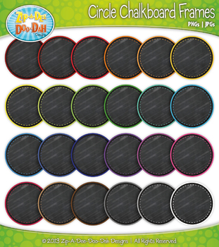 Rainbow Circle Chalkboard Clip Art Frames — 25 Colorful Graphics!