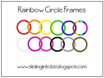 Rainbow Circle Frames {clipart} {freebie}