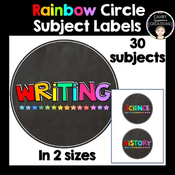 Rainbow Circle Subject Labels