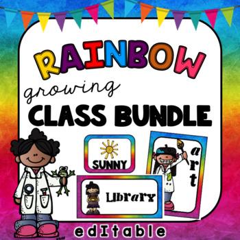 Rainbow Class Decor- Editable