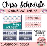 Rainbow Class Schedule - Editable Classroom Decor