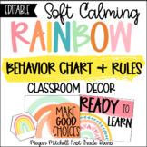 Rainbow Classroom Decor BEHAVIOR CHART & RULES Soft Calm and Happy