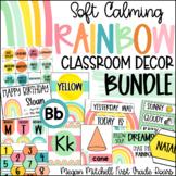 Rainbow Classroom Decor BUNDLE Soft Calm and Happy