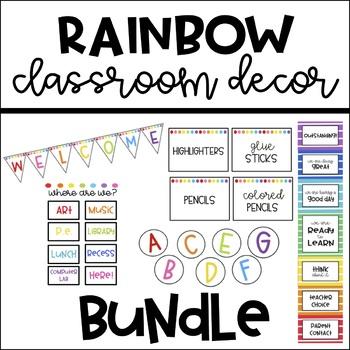 Rainbow Classroom Decor Bundle Pack